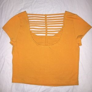 Charlotte Russe yellow cropped t-shirt.